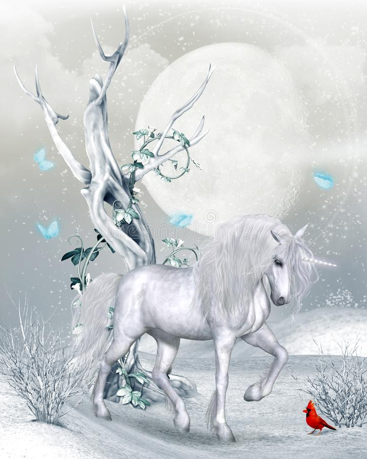 Magical Unicorn in Winter Landscape. A magical Unicorn in a fantasy winter landscape under a full moon, 3d render vector illustration