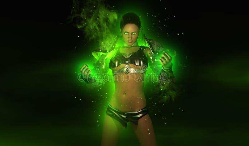 Magical warrior woman royalty free illustration