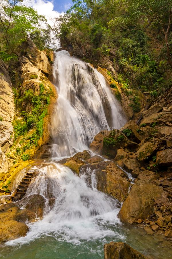 Magical waterfalls near Huatulco, Mexico. Cascades and waterfalls in a tropical nature near Huatulco, Mexico. Preserved nature, refreshing water by a hot day stock images