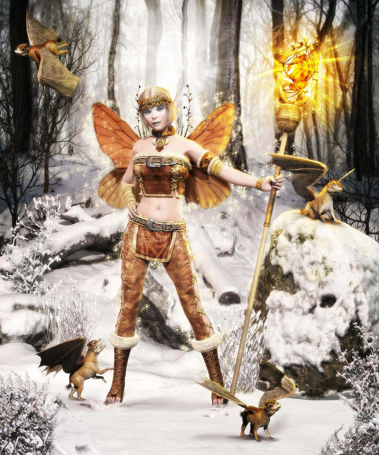 Magical Winter Forest Fairy royalty free illustration