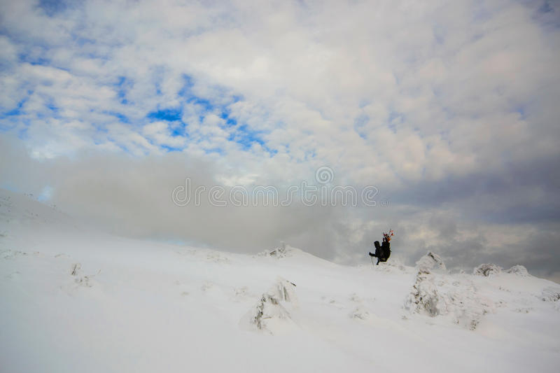 Magical winter landscape Dragobrat. One. Magical winter landscape Dragobrat in february. Carpathians, Ukraine. Dramatic sky royalty free stock images