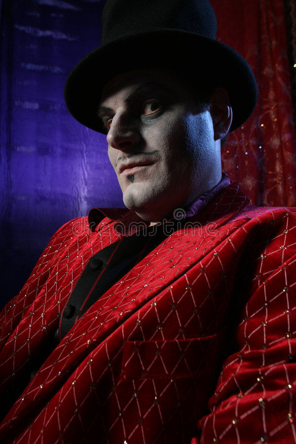 Magician. Portrait in retro cylinder hat royalty free stock photo