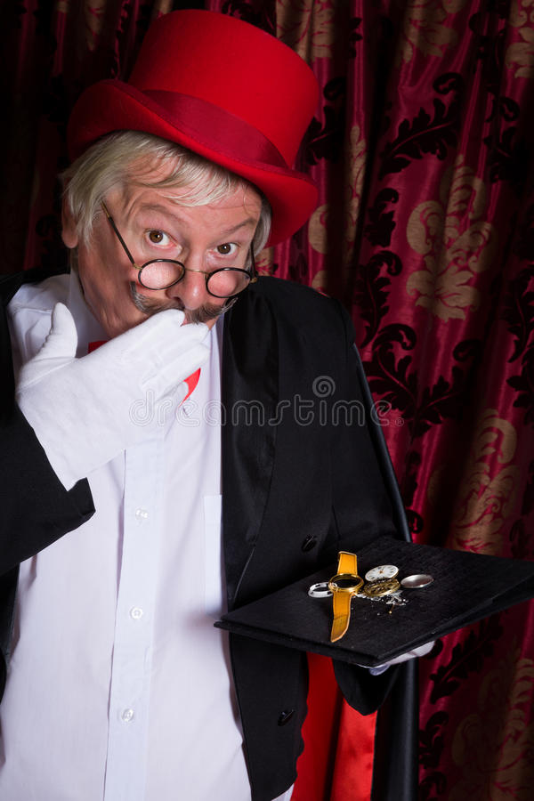 Magician accidental trick royalty free stock images