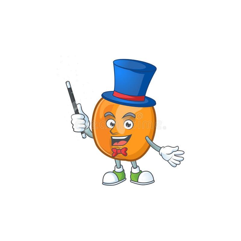 Magician apricot fruit in the cartoon shape. Vector illustration vector illustration
