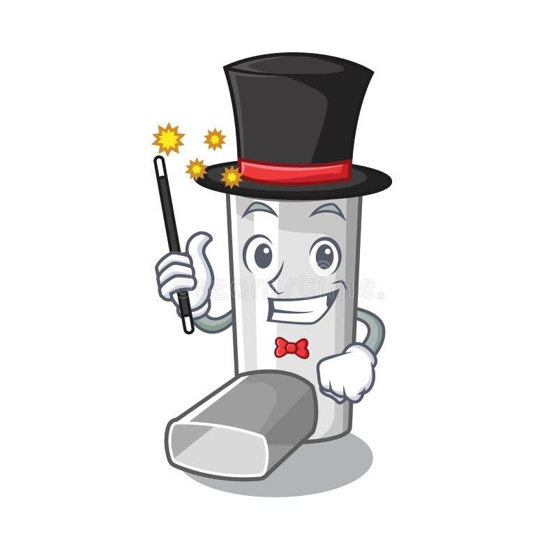 Magician asthma inhaler in the character bag. Vector illustration stock illustration