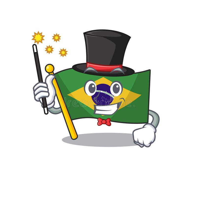 Magician brazil flag kept in mascot drawer. Illustration vector royalty free illustration