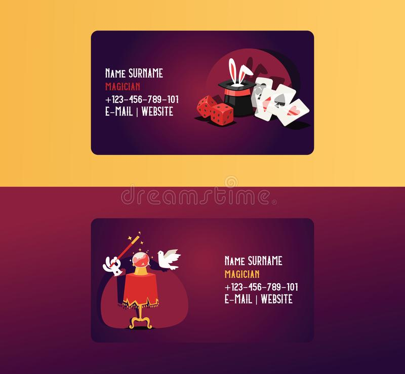 Magician business card vector illusionist show magic illusion or magical illusionism on business-card backdrop and royalty free illustration