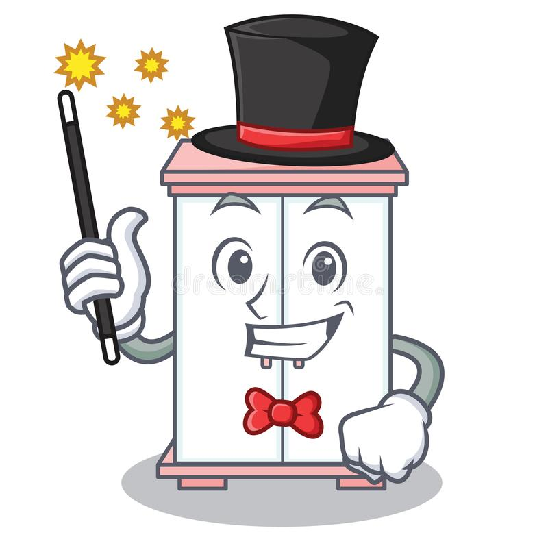 Magician cabinet character cartoon style vector illustration