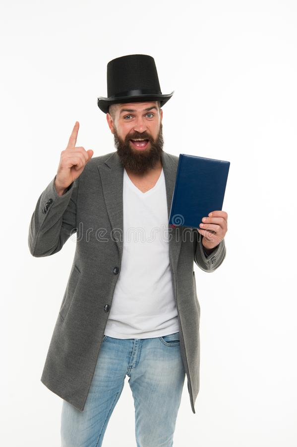 Magician character. Want some magic trick. Circus magic trick performance. Magician circus worker. Man bearded guy royalty free stock image