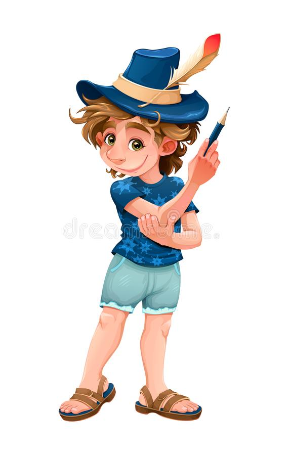 Magician child with blue hat. Vector cartoon isolated character stock illustration