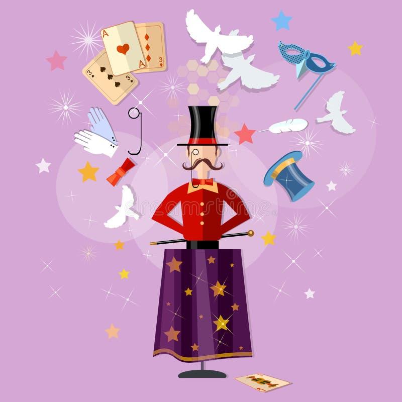 Magician circus shows tricks focuses magical performance stock illustration
