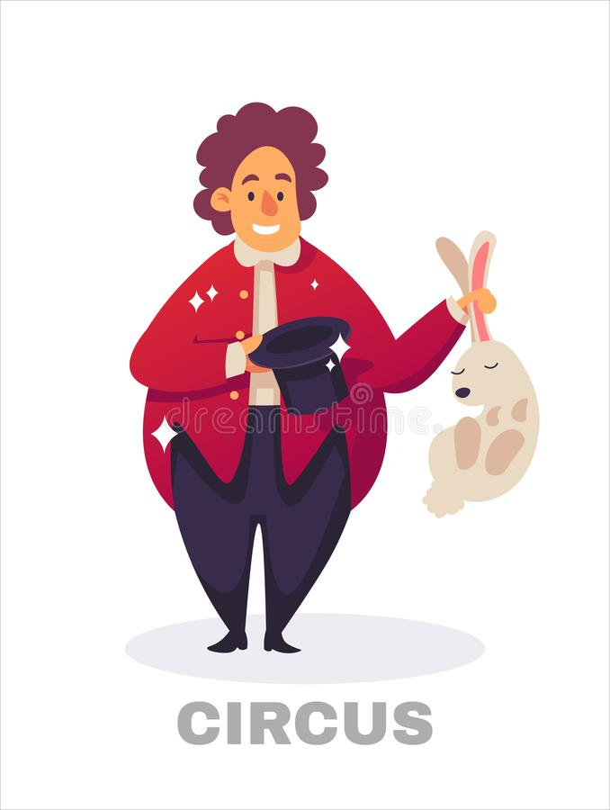 Magician conjured pigeon out of magical hat. Illusionist performing tricks with white hare. Magic show. Vector vector illustration