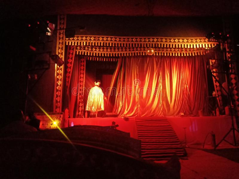 Magician is dancing on stage megical show live in India nov 2019 royalty free stock image