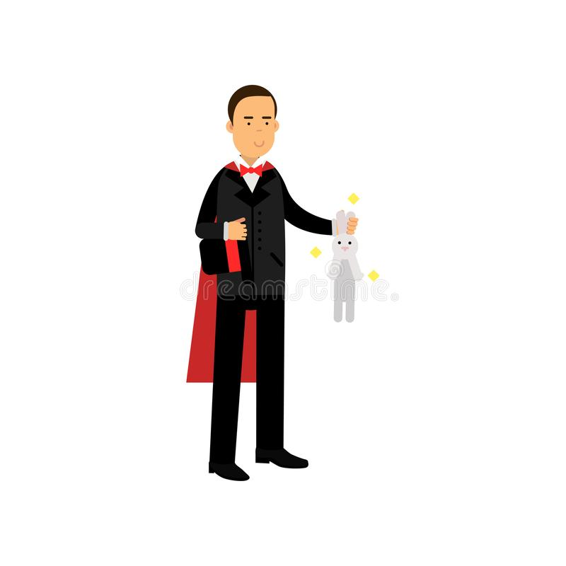 Magician in an elegant black suit and red cape showing trick with white rabbit, circus performer vector Illustration stock illustration