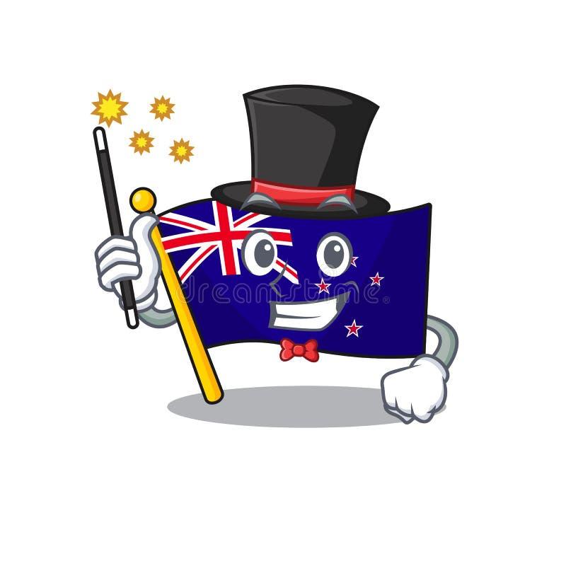 Magician flag new zealand in cartoon drawer. Vector illustration royalty free illustration
