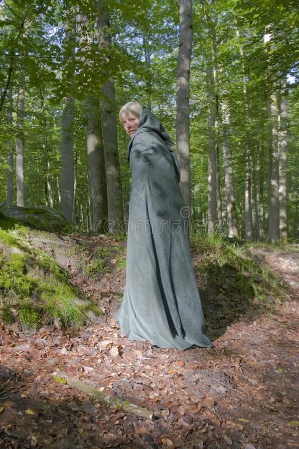 The Magician in a green coat. Woman wearing a green cape in the middle of the forest. It could be a witch, a magician or whatever your imagination may want stock image