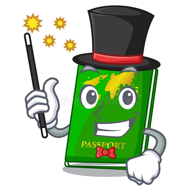 Magician green passport on the mascot table vector illustration