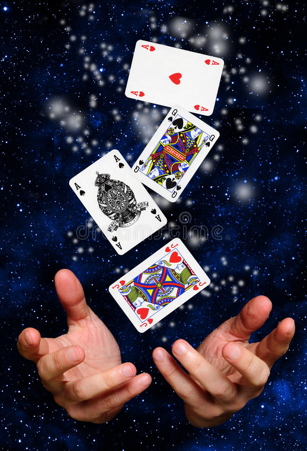 Magician Hands With Cards Royalty Free Stock Photo