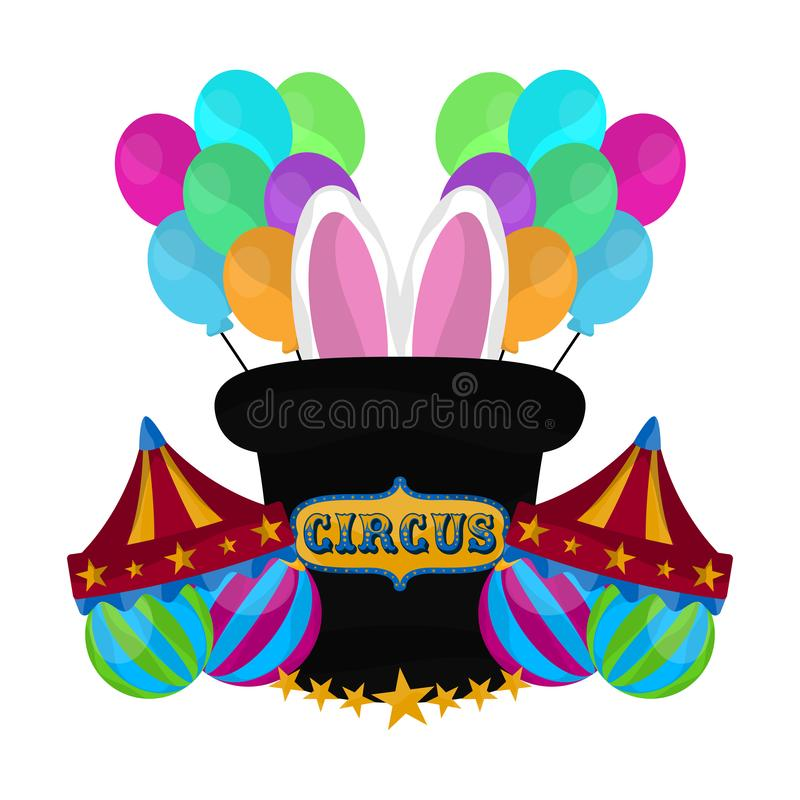 Magician hat with rabbit ears and balloons. Vector illustration vector illustration
