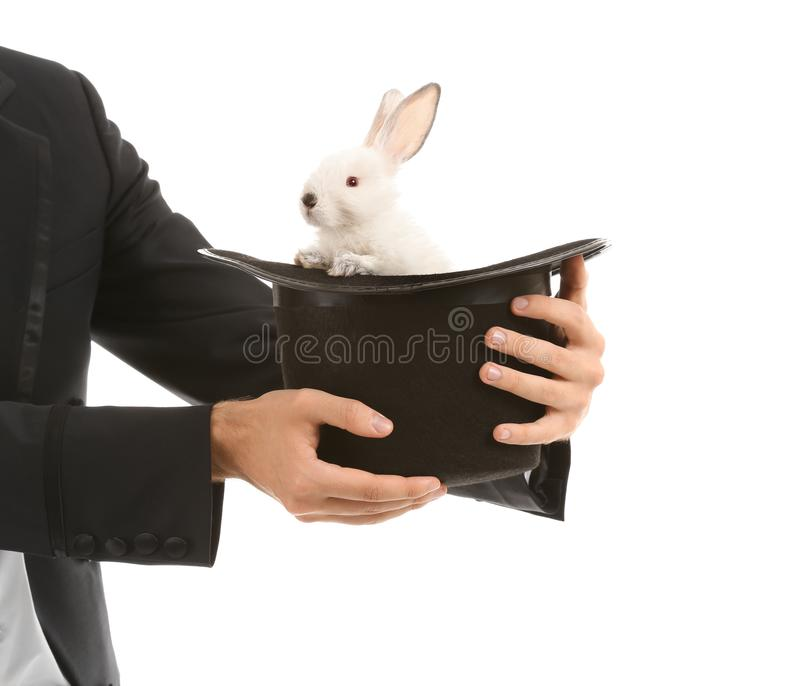 Magician holding hat with rabbit on white background royalty free stock images