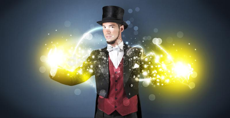 Magician holding his power on his hand royalty free illustration
