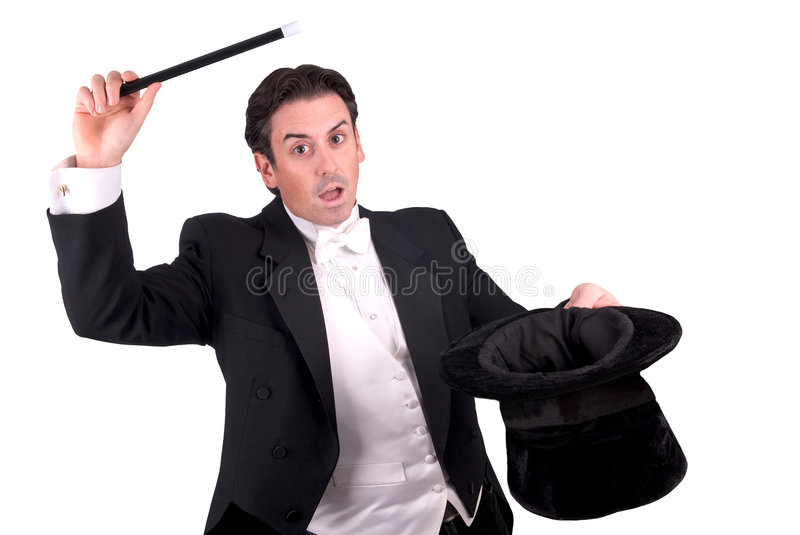 Magician Holding A Magic Wand Stock Photography