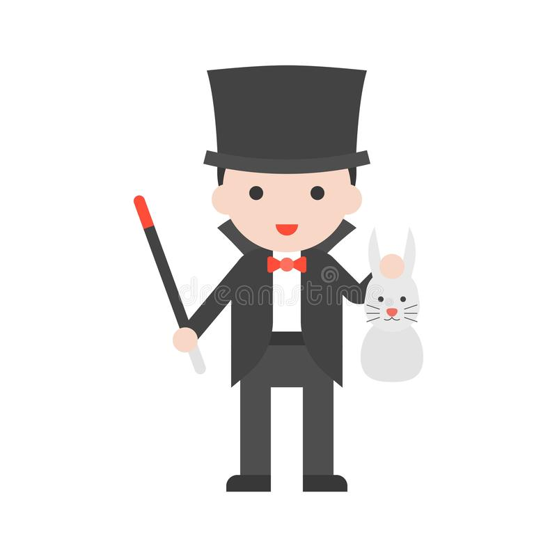 Magician holding wand and rabbit, Set Profession character of pe royalty free illustration
