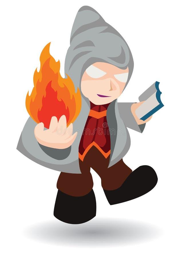 Magician in hood cast fire spell stock illustration