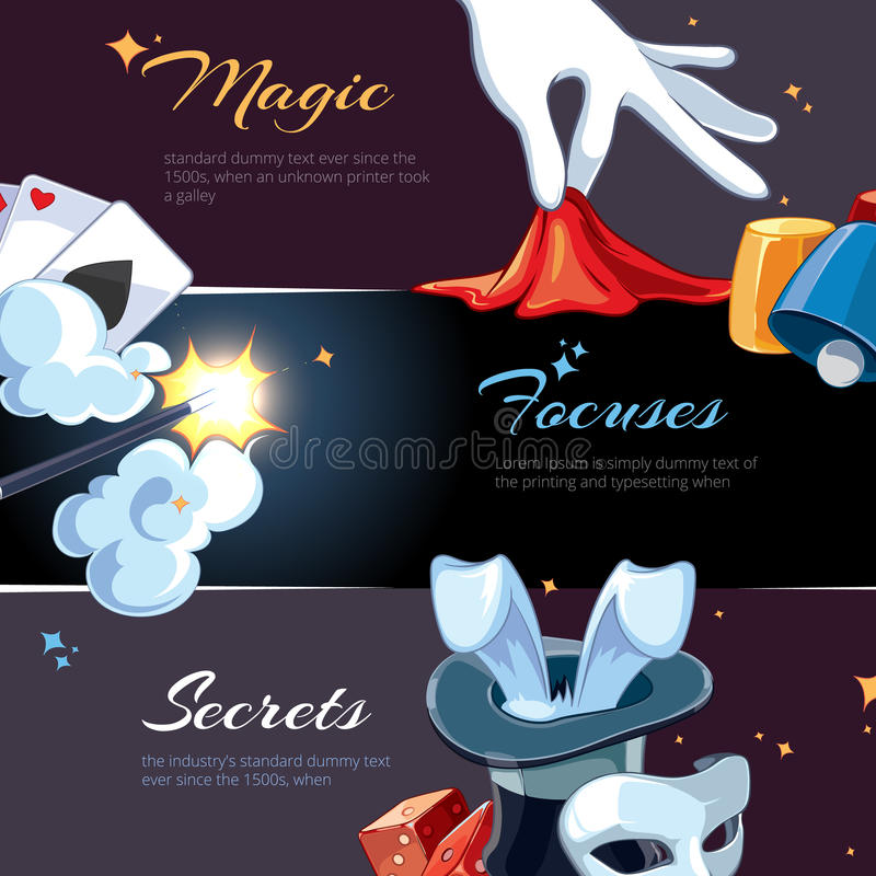 Magician illsutrations for template of web banners royalty free illustration