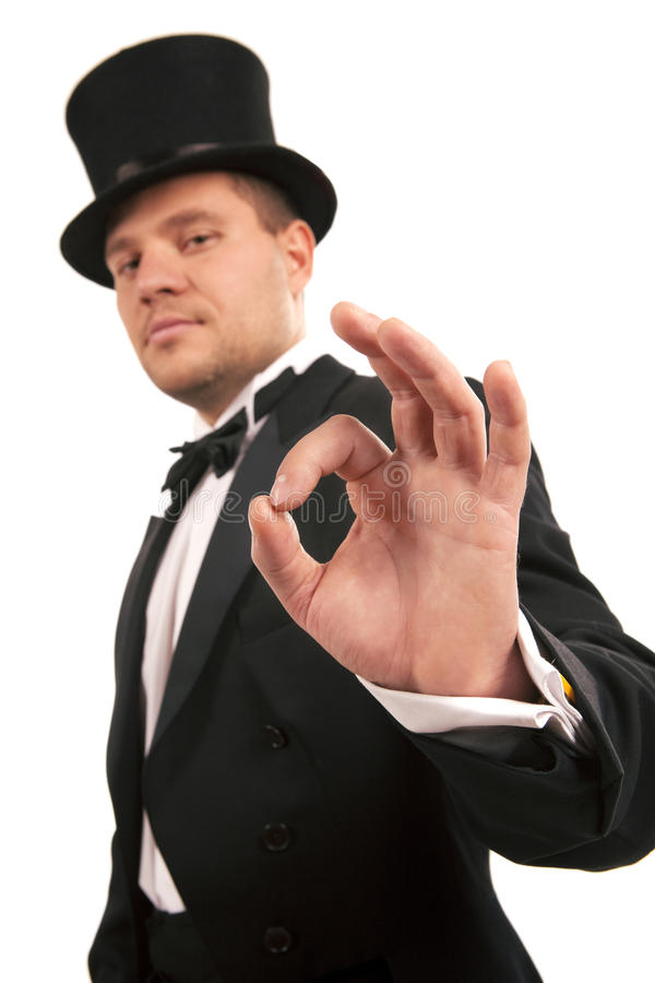 Download Magician Making 'ok' Gesture Stock Image - Image: 18440055