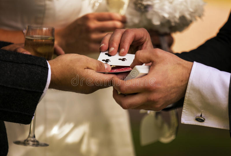 Magician performing a card trick stock image