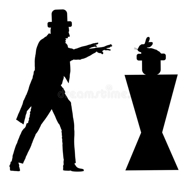 Magician performing trick with rabbit, silhouette. Hypnotist hypnotizes the rabbit in cabaret. stock illustration