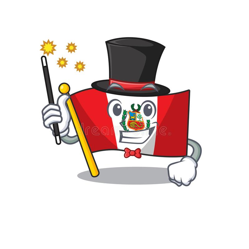 Magician peru flag stored in character drawer. Vector illustration stock illustration