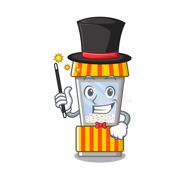 Magician popcorn vending machine in mascot shape. Vector illustration vector illustration