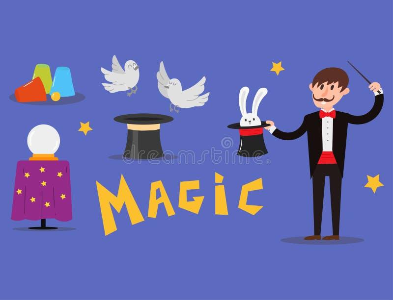 Magician prestidigitator illusionist character tricks juggler vector illustration magic conjurer show cartoon man vector illustration