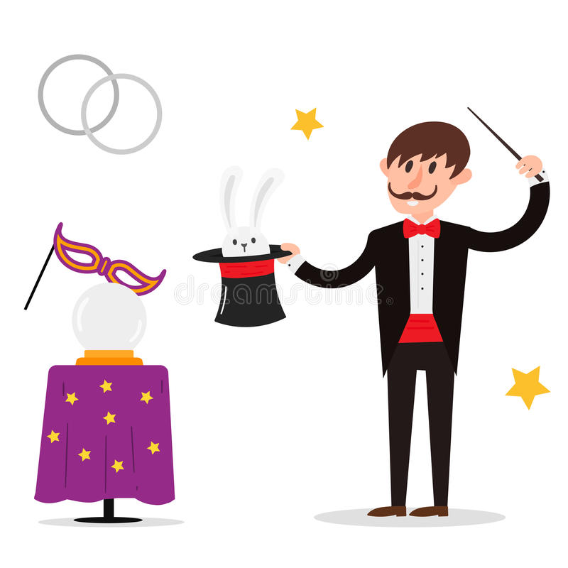 Magician prestidigitator illusionist character tricks juggler vector illustration magic conjurer show cartoon man stock illustration