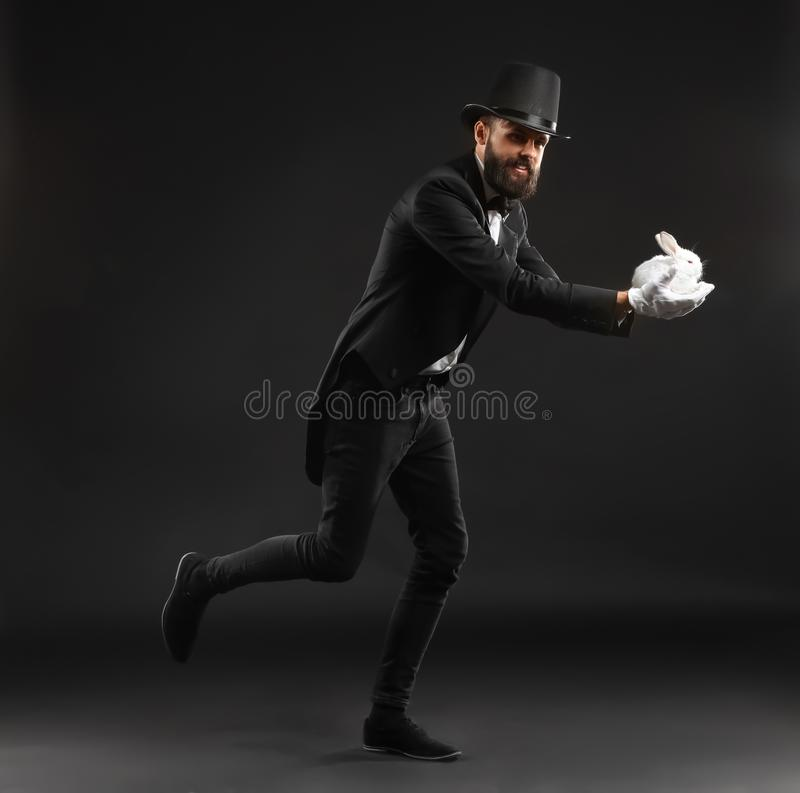 Magician with rabbit on dark background royalty free stock photos