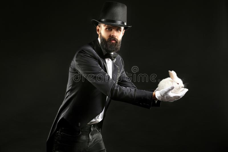 Magician with rabbit on dark background stock photography