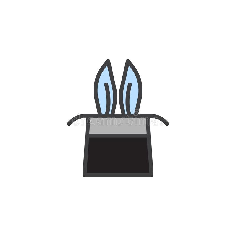 Magician rabbit ears in a magic hat filled outline icon vector illustration
