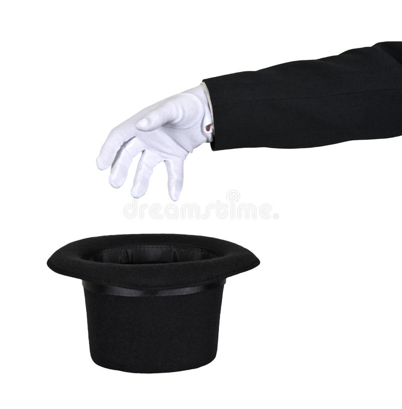 Magician Reach Into Magic Top Hat Isolated stock photography