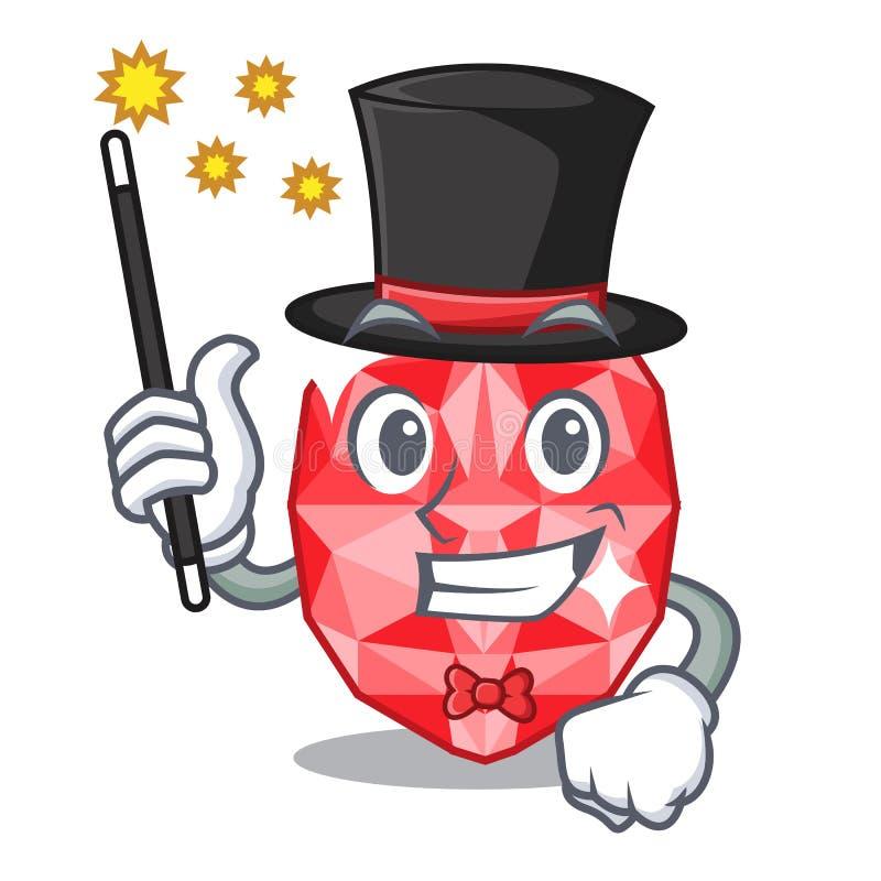 Magician ruby gems in the mascot shape. Vector illustration vector illustration