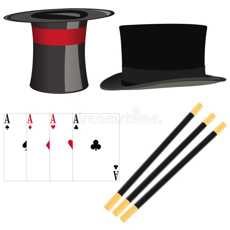 Magician set of accessories stock photography