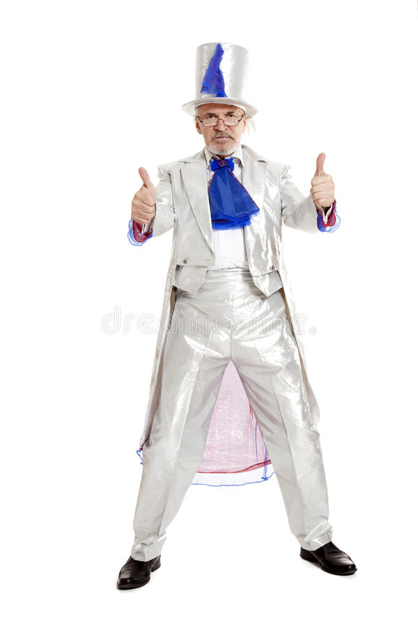 Magician showing trumbs up royalty free stock image
