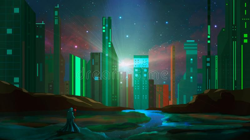 Magician stand on rock with river and sci-fi city at night. Digital painting stock illustration
