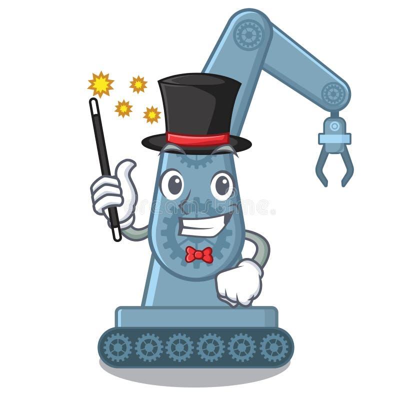 Magician toy mechatronic robot arm cartoon shape vector illustration