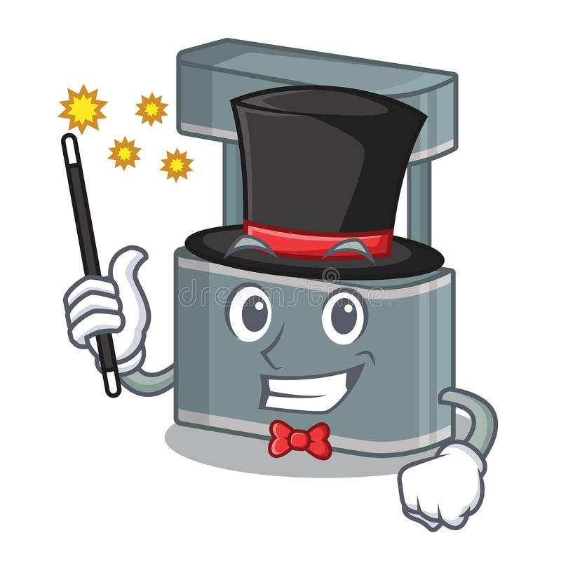 Magician toy trade stand on a mascot. Vector illustration stock illustration