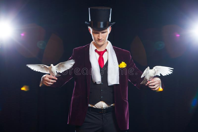 The magician with a two flying white Doves. on a black background stock photo