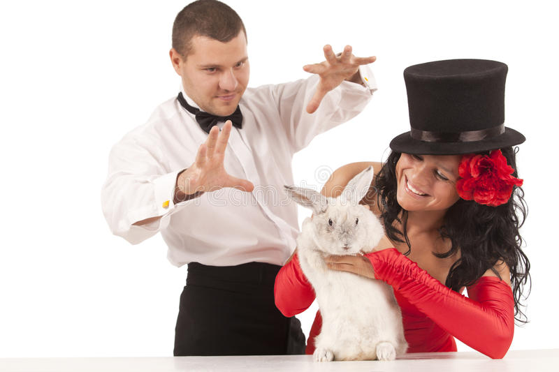 Download Magicians with  bunny stock image. Image of illusion - 17883349