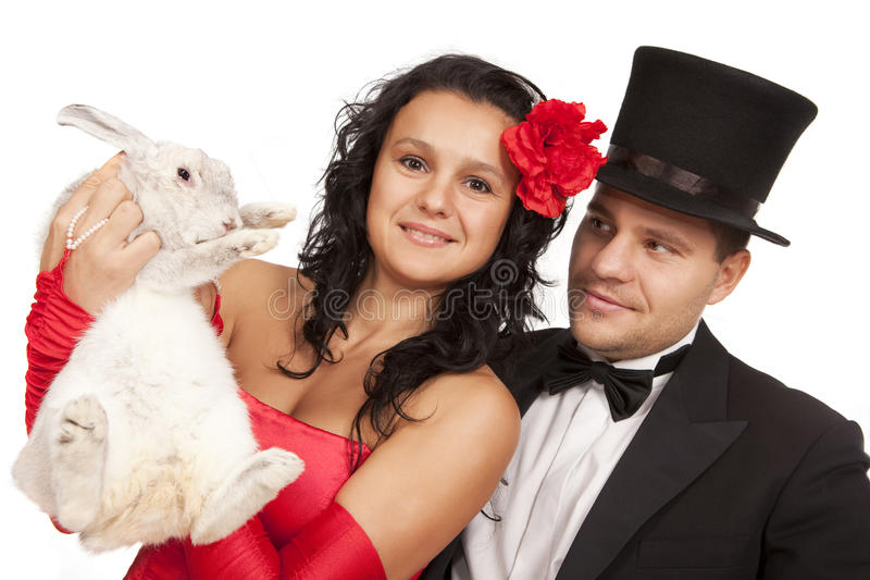 Download Magicians with  bunny stock photo. Image of illusionist - 17985128