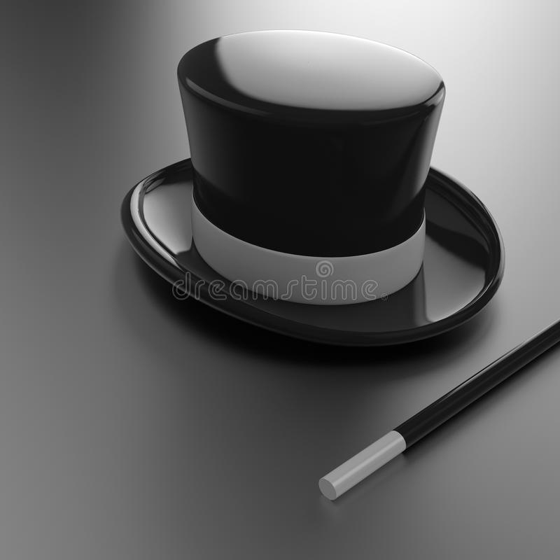 Free Magicians Hat And Wand Royalty Free Stock Photo - 30151395